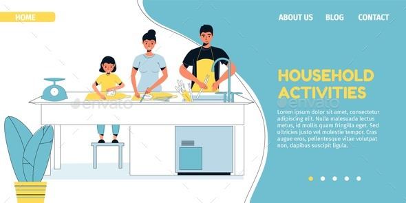 Family Household Activity on Kitchen Landing Page