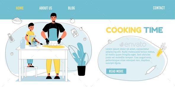 Happy Family Cooking Time Household Landing Page