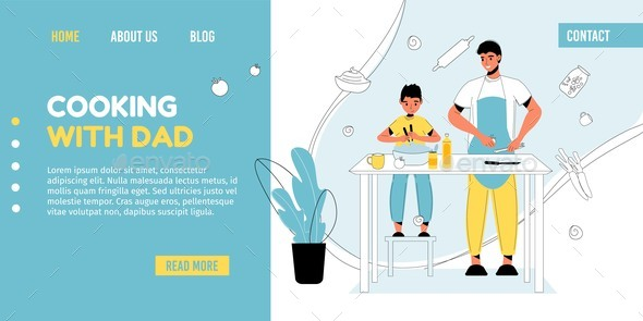 Dad and Son Cooking Together at Kitchen Landing Page