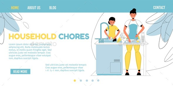 Daughter Help Mom in Household Chores Landing Page