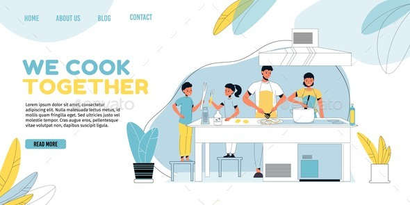 Happy Family Member Cooking Landing Page Template