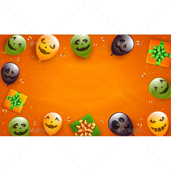 Orange Halloween Background with Balloons