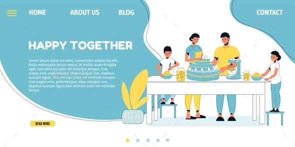 Happy Family Cake Baking Landing Page Template