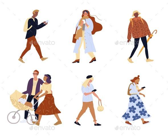 Bundle of Walking People Family Isolated Character