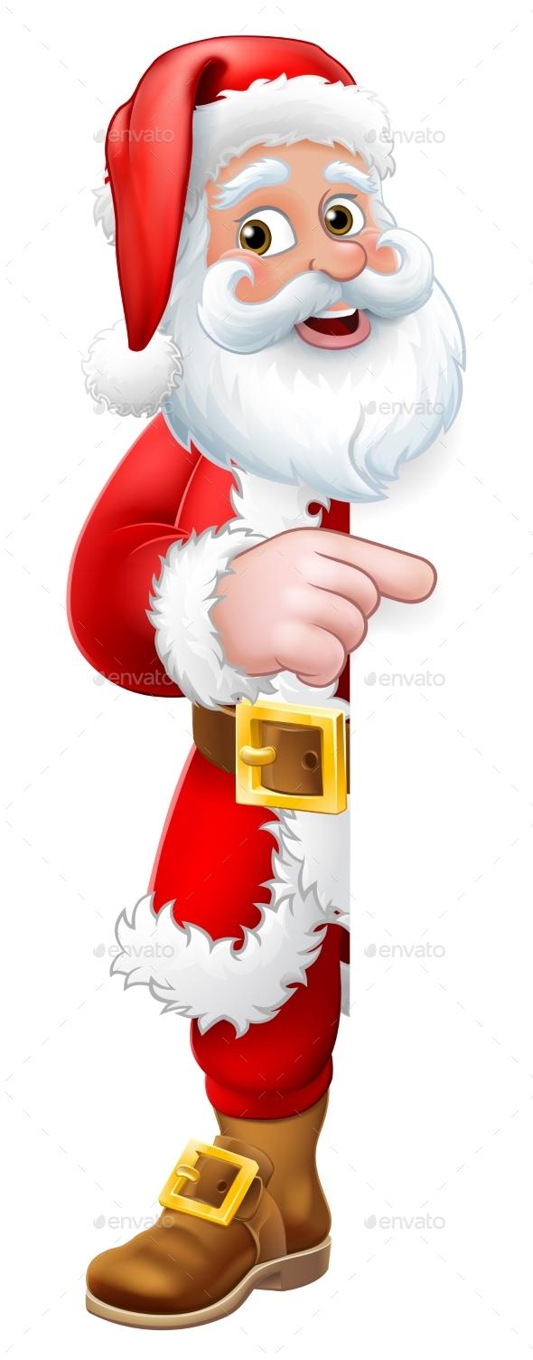 Santa Claus Christmas Cartoon Peeking Pointing