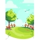 Vector Cartoon Image Illustration the Spring Lawn - GraphicRiver Item for Sale