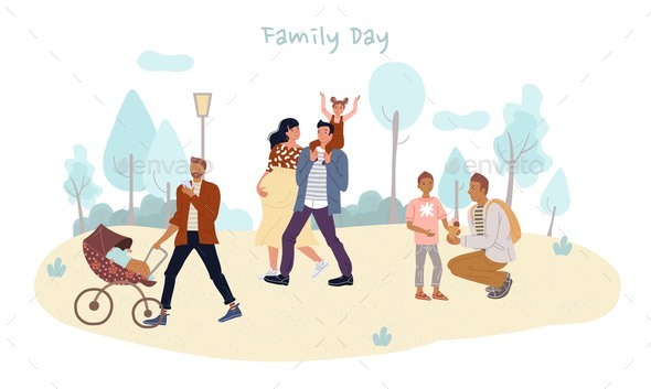 Parent Children Spend Family Day Outdoor in Park