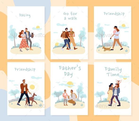 People Enjoy Active Summer Time Outdoor Card Set