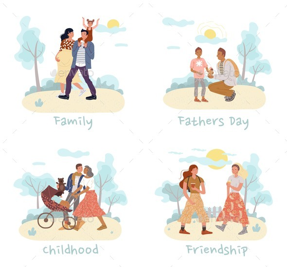 Family Day Recreation Friendship Relation Set