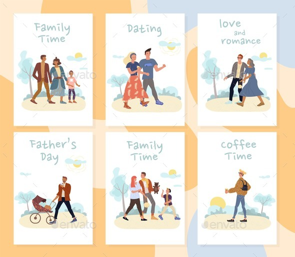 People Rest Active Summer Time in Park Card Set