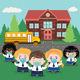 Kids in Mask and Rural School - GraphicRiver Item for Sale