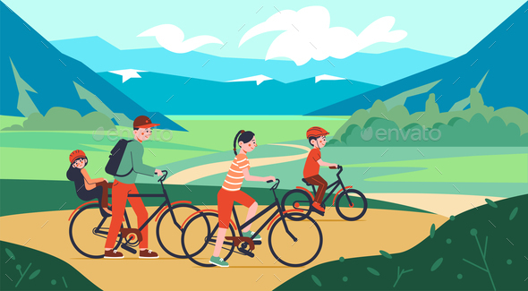 Family Bicycle Walk Composition