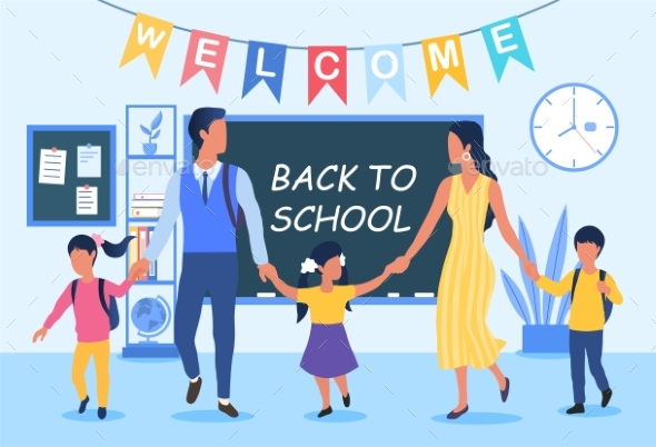Back To School Concept with Young Family