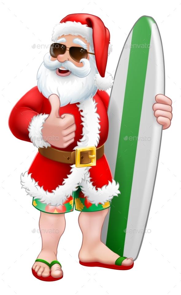 Santa Surfing Shades Surfboard Christmas Cartoon