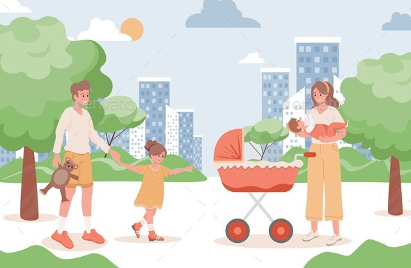 Family Walking in City Park Vector Flat