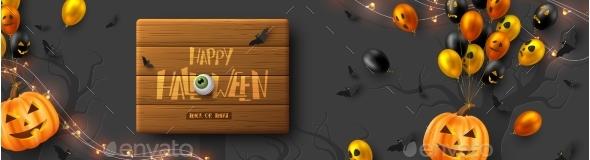 Happy Halloween Horizontal Banner