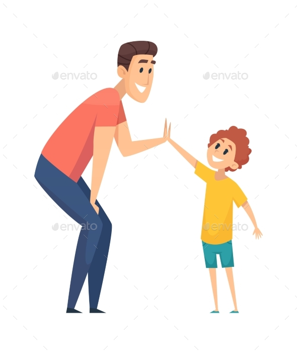 High Five. Man Greeting Boy, Happy People. Cartoon