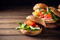 Italian Caprese sandwiches with fresh tomatoes, mozzarella cheese - PhotoDune Item for Sale