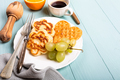 Healthy breakfast with fresh hot waffles hearts, pancakes flowers - PhotoDune Item for Sale
