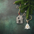 Festive background with wooden christmas tree - PhotoDune Item for Sale