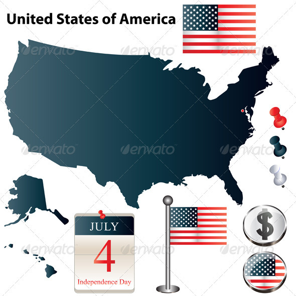 USA country shape with flags