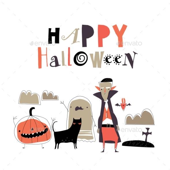 Cartoon Halloween Monsters on White