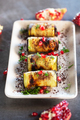 Baked Eggplant Plate Dressed with pomegranate seeds and herbs - PhotoDune Item for Sale