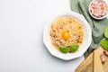 Italian pasta carbonara made with egg, hard cheese, cured pork guanciale or pancetta - PhotoDune Item for Sale