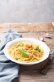 Italian pasta carbonara made on a wooden rustic background - PhotoDune Item for Sale