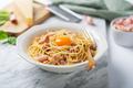 Italian pasta carbonara made with egg, hard cheese - PhotoDune Item for Sale