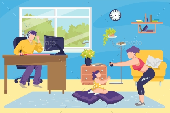 Family at Home Together Concept Vector