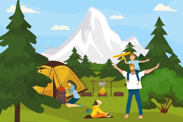 Summer Camp on Nature, in Forest, Vacation
