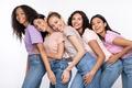 Cheerful Multiethnic Women Hugging Posing Over White Studio Background - PhotoDune Item for Sale