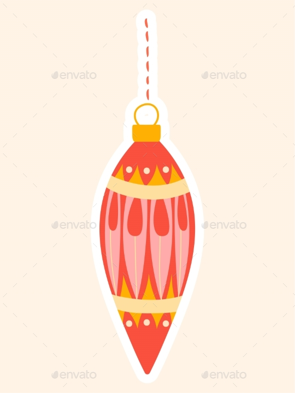 Elegant Red Christmas Bauble for an Xmas Tree