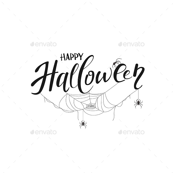 Lettering Happy Halloween with Spiders