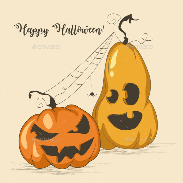 Halloween Card with Two Pumpkins