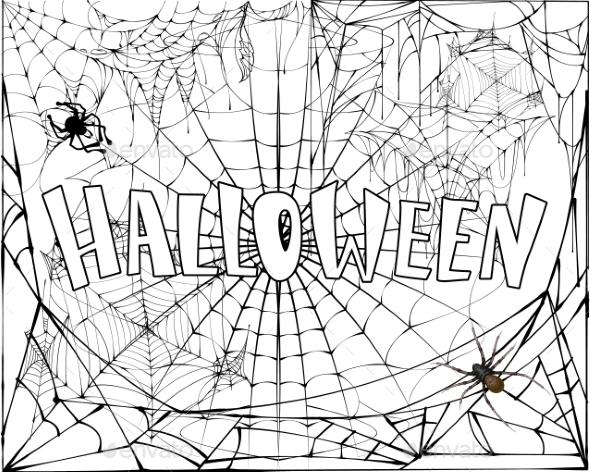 Halloween Text Banner on Spiderweb and Spider