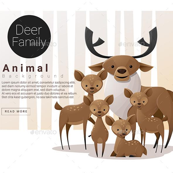 Cute And Funny Deer Famliy Set