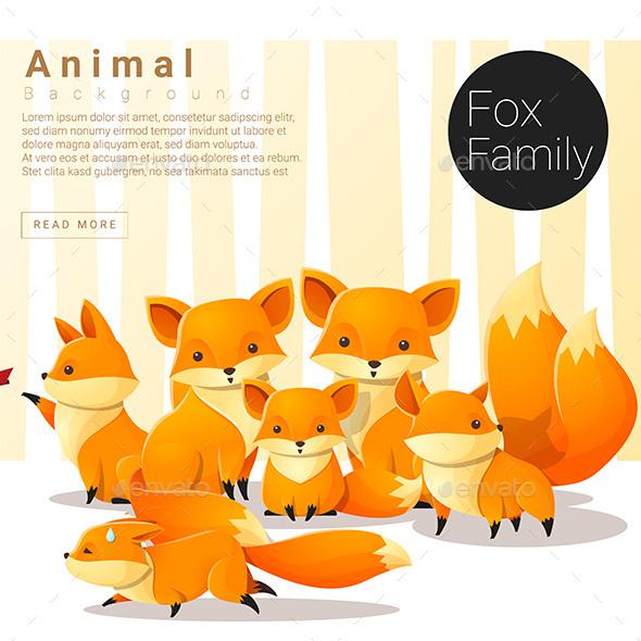 Cute And Funny Fox Famliy Set
