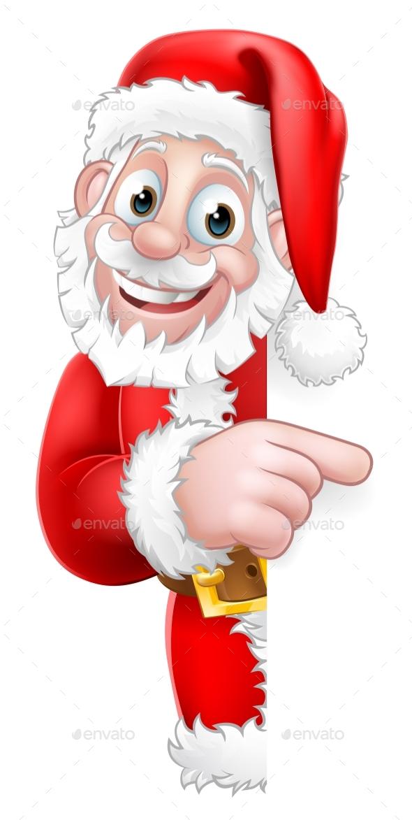Santa Peeking Christmas Cartoon Sign Pointing