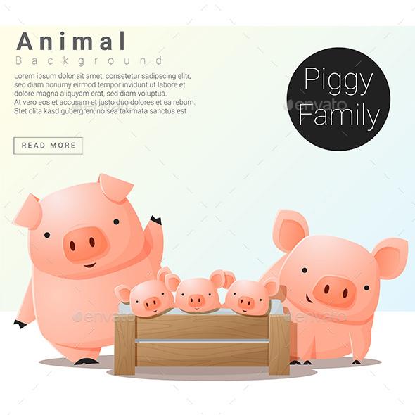 Cute And Funny Pig Famliy Set