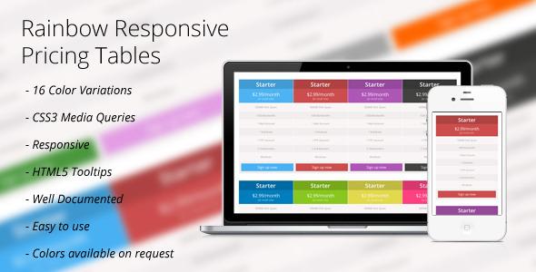 CSS3: Rainbow Responsive Price Tables