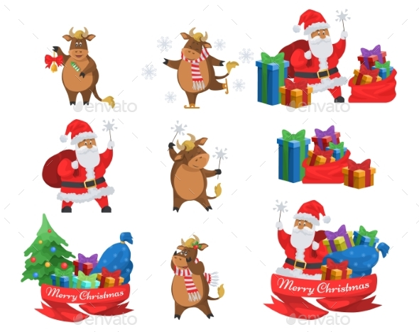 Happy Santa Claus and Ox Chinese New Year