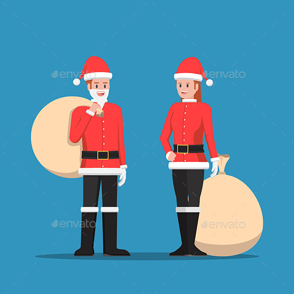 Man And Woman In Santa Claus Suit