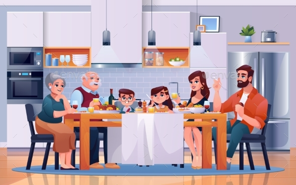 Family Dinner at Kitchen Table, Eat Food Together