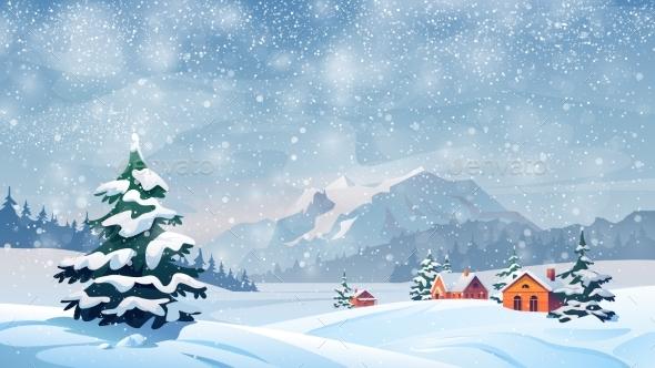 Winter Snow Landscape, Houses, Snowflakes Falling