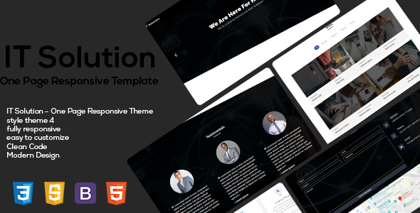 IT Solution One Page Responsive HTML5 Templates