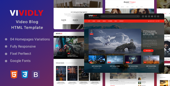 Download Vividly | Video Blog HTML Template Nulled