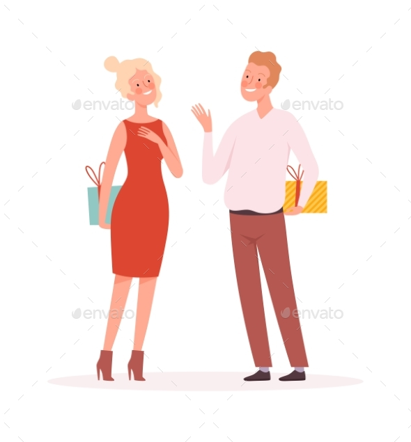 Couple with Gifts. Surprise, Man Woman Holding