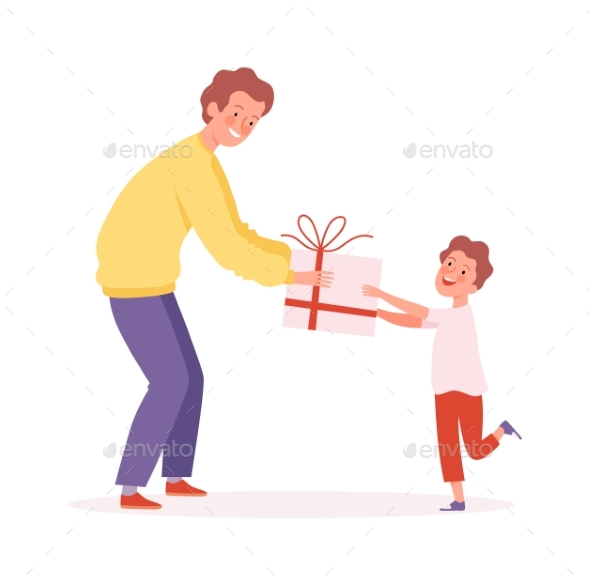 Father Time. Man Giving Gift To Son, Happy Boy and